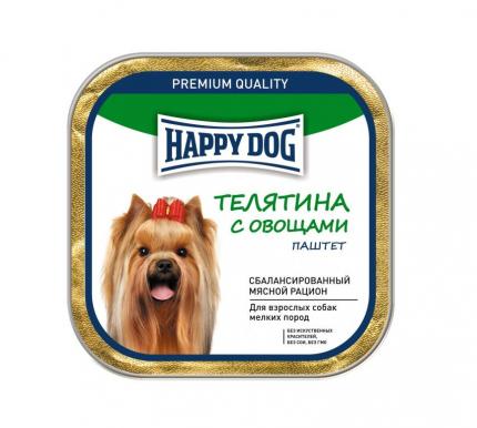 Консервы для собак Happy Dog NaturLine паштет, телятина, овощи, 125г