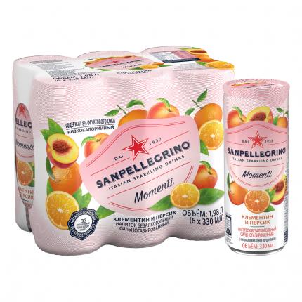 Газированный напиток San Pellegrino Momenti клементин-персик 0,33 л