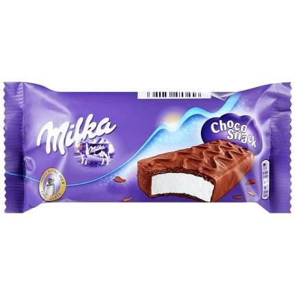 Пирожное Milka Choco Snack бисквитное с кремом в молочном шоколаде, 32 г