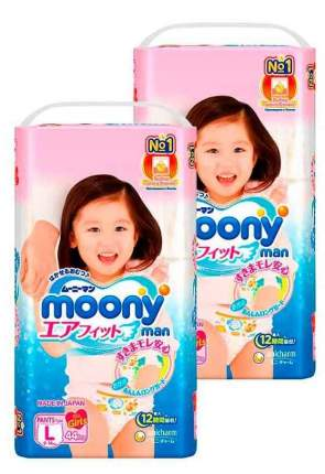 Подгузники-трусики MOONY для девочек L (9-14 кг), 2x44 шт.