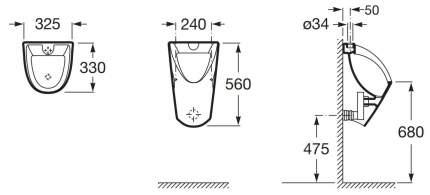 Писсуар Roca Chic 35945L000 верхний подвод воды
