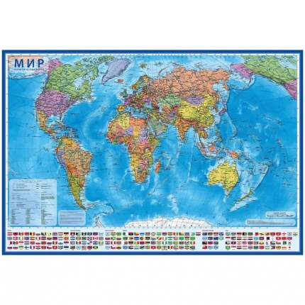 Интерактивная политическая карта Мира 1:15,5М, с ламинацией