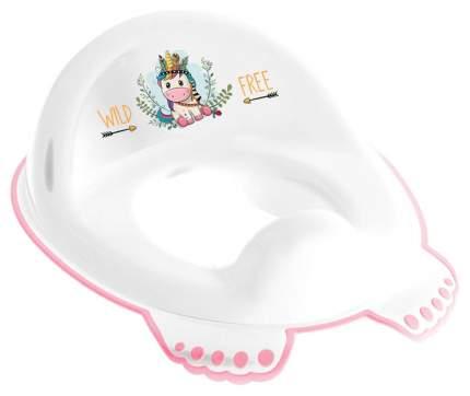 Накладка на унитаз Tega Дикий запад Единорог нескользящая белый/розовый