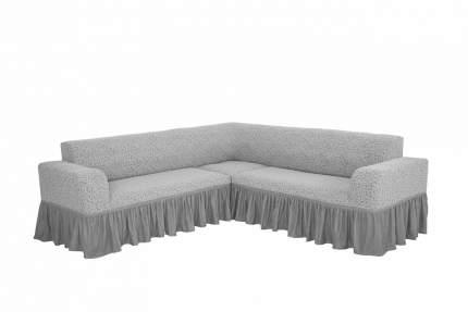 """Комплект чехлов на угловой диван и кресло с оборкой Venera """"Жаккард"""", цвет светло-серый"""