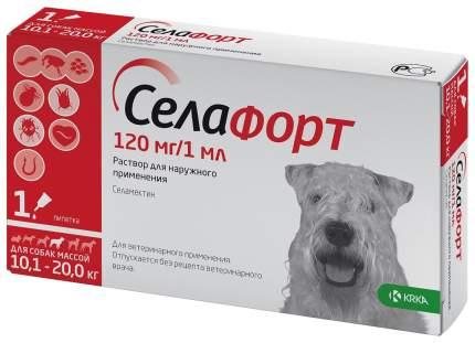 Капли для кошек и собак 10,1-20 кг против блох и клещей KRKA Селафорт, 1 пипетка, 1 мл