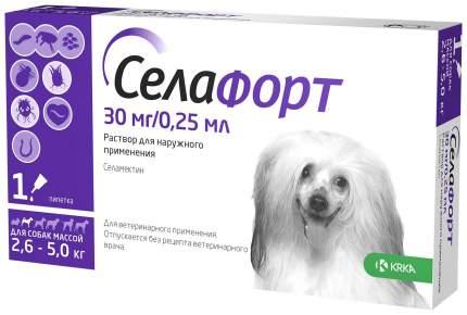 Капли для собак 2,6-5 кг против блох, клещей, глистов KRKA Селафорт, 1 пипетка, 0.25 мл