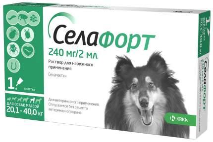 Капли для собак 20,1-40 кг против блох, власоедов, вшей KRKA Селафорт, 1 пипетка, 2 мл