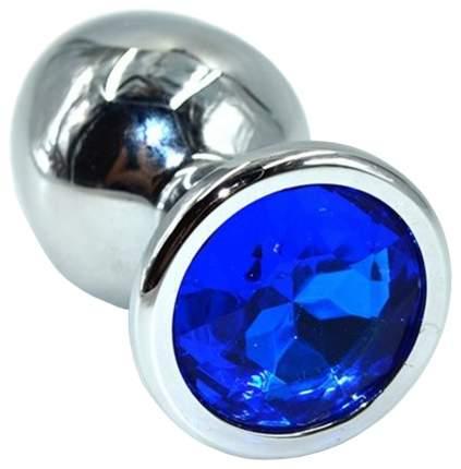 Серебристая анальная пробка из нержавеющей стали с синим кристаллом 8,5 см