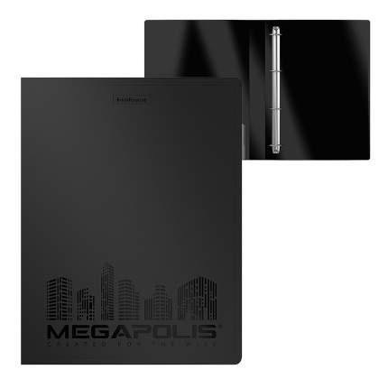 Папка на 4 кольцах пластиковая ErichKrause Megapolis, 35 мм, А4, черный (в коробке-дисплее