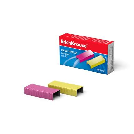 Скобы №10 ErichKrause цветные (коробка 1000 шт.)