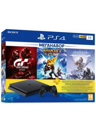 Игровая приставка PlayStation 4 Slim 1TB (CUH-2208B)+GTS+R&C+HZD CE+PS Plus 90 дней