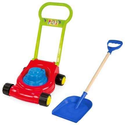 Набор садовода Детская газонокосилка/ Деревянная детская лопатка 60 см синяя