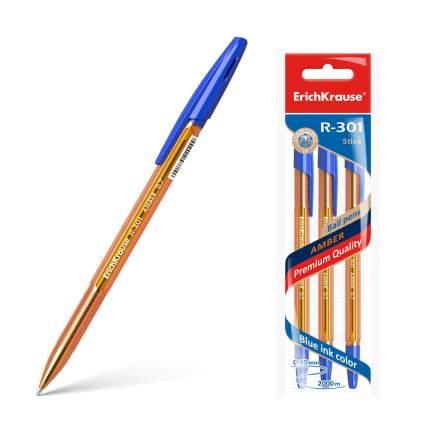 Ручка шариковая ErichKrause® R-301 Amber Stick 0.7, синий в пакете 3 шт