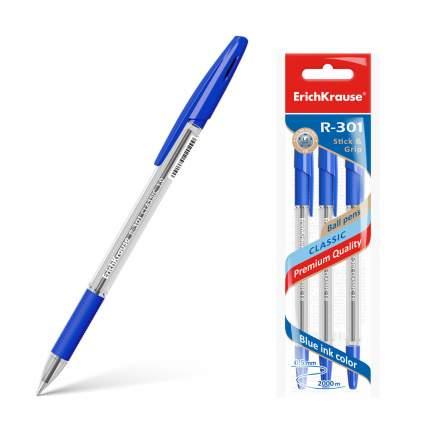 Ручка шариковая ErichKrause® R-301 Classic Stick&Grip 1.0, синий в пакете 3 шт