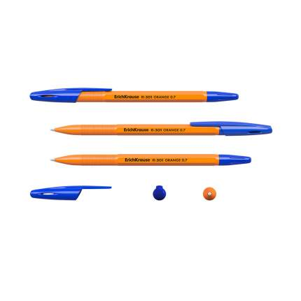 Ручка шариковая ErichKrause® R-301 Orange Stick 0.7, синий в пакете 3 шт