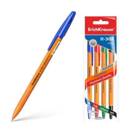 Ручка шариковая ErichKrause® R-301 Orange Stick 0.7 синий черный красн зелен в пакете 4 шт