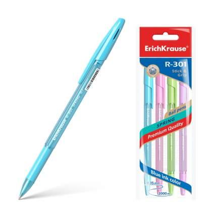 Ручка шариковая ErichKrause® R-301 Spring Stick&Grip 0.7, синий в пакете 4 шт