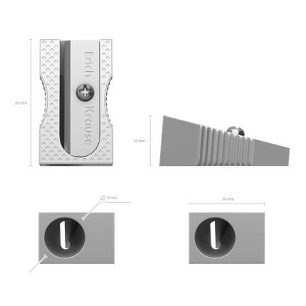 Металлическая точилка ErichKrause Ferro, цвет корпуса серебряный