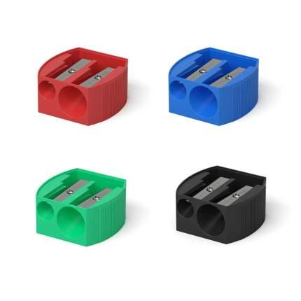 Пластиковая точилка ErichKrause Multi на два отверстия, цвет корпуса ассорти