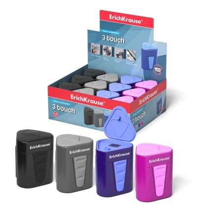 Пластиковая точилка ErichKrause 3-Touch с контейнером и крышкой, цвет корпуса ассорти (в к