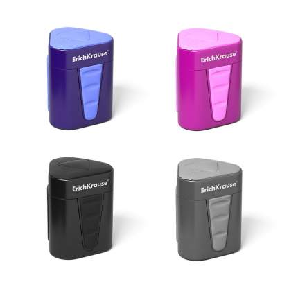 Пластиковая точилка ErichKrause 3-Touch с контейнером и крышкой в ассортименте