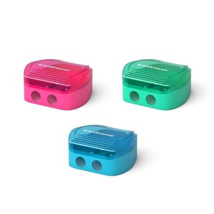 Пластиковая точилка ErichKrause Duo, два отверстия, с контейнером, цвет корпуса ассорти (в