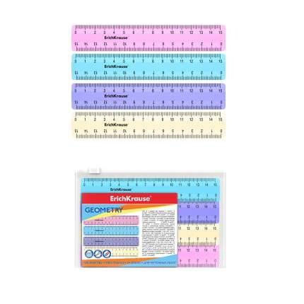 Набор из 4 линеек ErichKrause Pastel, 15см, розовый, голубой, фиолетовый, желтый, в zip па
