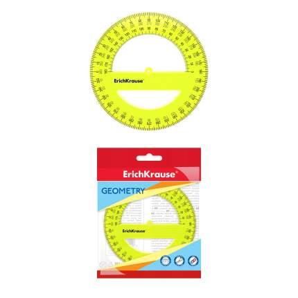 Транспортир пластиковый ErichKrause Neon, 360 градусов, 12 см, желтый, в флоупаке