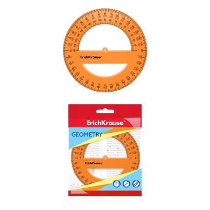 Транспортир пластиковый ErichKrause Neon, 360 градусов, 12 см, оранжевый, в флоупаке