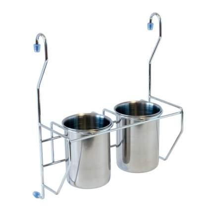 Полка на рейлинг 2 стакана для столовых приборов MX-425 хром глянец
