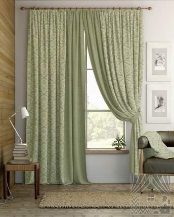 Классические шторы ТомДом Tera Цвет: Зеленый, высота 280 см