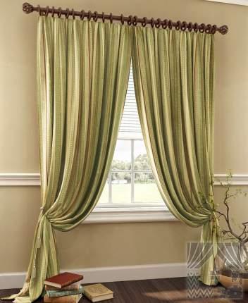 Классические шторы ТомДом Alison Цвет: Терракотово-Зеленый, высота 280 см