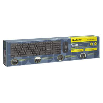 Комплект клавиатура и мышь Defender York C-777 RU Black Multimedia (45779)