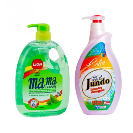 Набор гель для мытья посуды Mama Lemon 1 л и гель для стирки Jundo Color