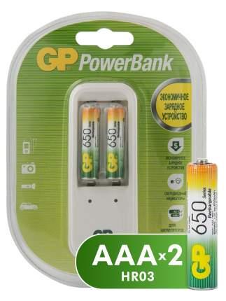 Зарядное устройство GP + аккумулятторы ААА (HR03) 650 мАч,  2 шт