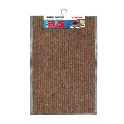 Коврик входной ворсовый влаго-грязезащитный, 60х90 см, ребристый, коричневый