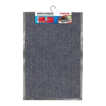 Коврик входной ворсовый влаго-грязезащитный, 60х90 см, ребристый, серый