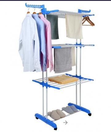 Вертикальная вешалка-сушилка для белья (Бело-голубая) Discovery Massage 23686