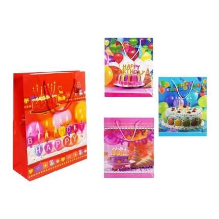 Пакет подарочный бумажный S8382 Happy Birthday 4 вида 26*32*10 см (в ассортименте) 1 шт
