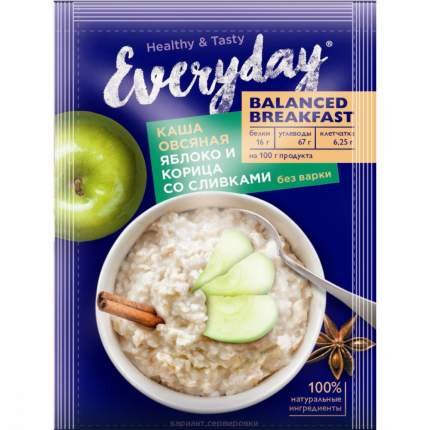 "Каша овсяная Everyday ""Balanced Breakfast   Яблоко и Корица со сливками"", 40 г"