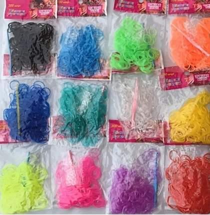 Набор резиночек TUKZAR цветные ГЕЛЕВЫЕ для плетения браслетов,12 пакетов по 200 резиночек