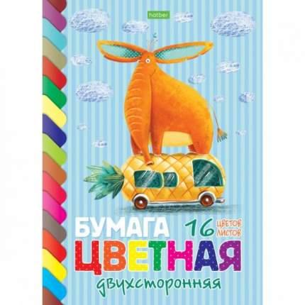 Набор двухсторонней цветной бумаги Hatber 16 листов 16 цветов А4 На скобе Прикольный слон