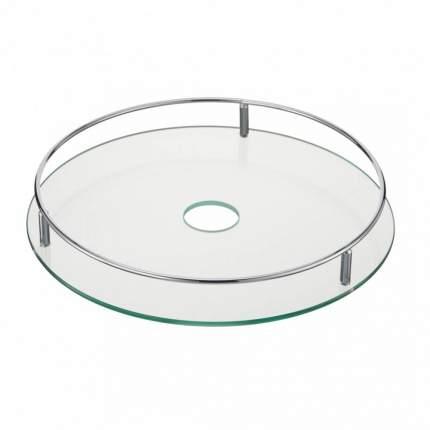 Полка стеклянная диаметр 350 мм., Д380 Ш380 В70, хром, STS350