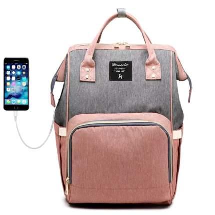 Рюкзак для мамы Diweilu с USB серо-розовый