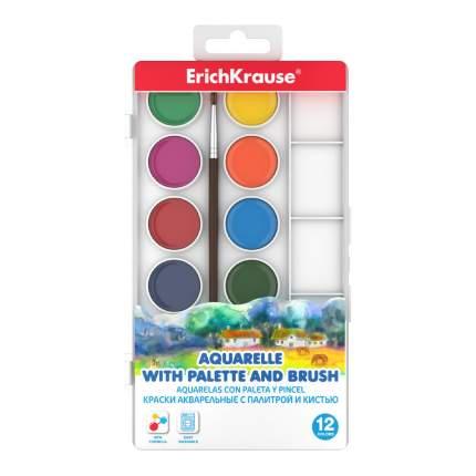 Краски акварельные ErichKrause12 цв с палитрой и кистью