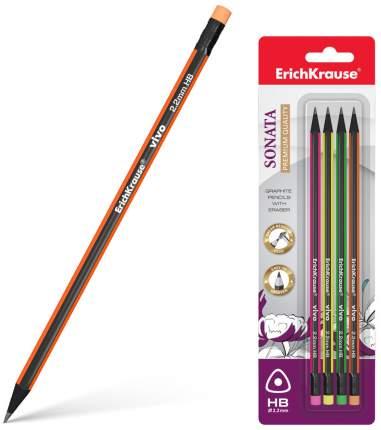 Чернографитный трехгранный карандаш с ластиком ErichKrause VIVO HB (в блистере по 4 шт.)