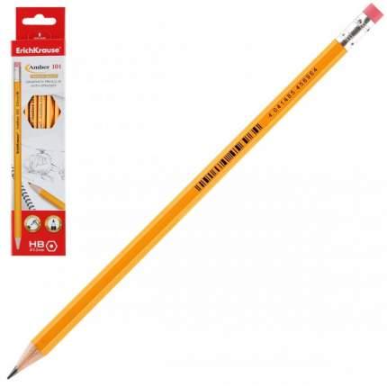 Чернографитный шестигранный карандаш с ластиком ErichKrause Amber 101 HB