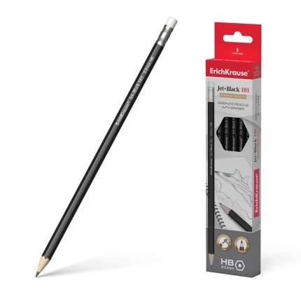 Чернографитный шестигранный карандаш с ластиком ErichKrause Jet Black 101 HB (в тубусе по