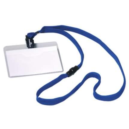 Бейдж горизонтальный на текстильном темно-синем шнуре, 60х90мм, цена за 1 шт