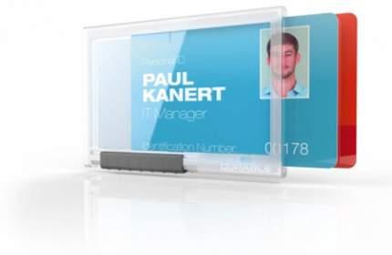 Держатель для магнитных карт PUSHBOX DUO, прозрачный, 54 x 85 мм, на 2 карты. Цена за 1 шт